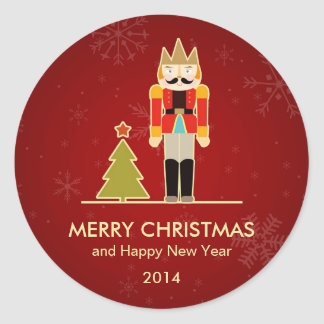 Nutcracker Merry Christmas and Happy New Year 2014 Round Sticker
