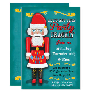 Nutcracker SantaHoliday Christmas Party Invitation