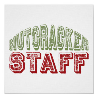 Nutcracker Staff Christmas Ballet Design Poster