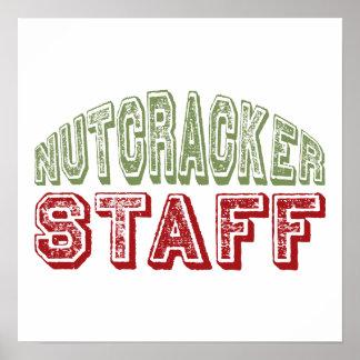 Nutcracker Staff Christmas Ballet Design Posters