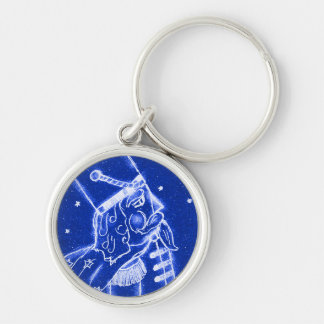 NUTCRACKER TOY SOLDIER in Bright Blue Silver-Colored Round Key Ring