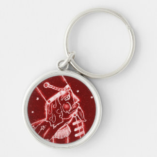 NUTCRACKER TOY SOLDIER in Bright Red Silver-Colored Round Key Ring