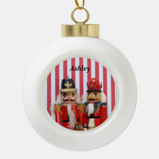 nutcrackers on stripes ceramic ornament