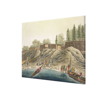 Nutka Indians exchanging gifts with European explo Canvas Print