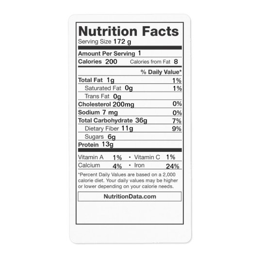 Nutrition Facts Label (Canning, Farmers Market) Shipping Label