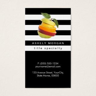 Nutritionist Fruits Logo - Black White Stripes Business Card