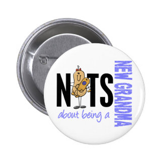 Nuts About Being A New Grandma 1 Blue 6 Cm Round Badge