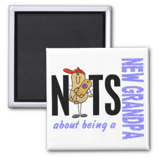 Nuts About Being A New Grandpa 1 Blue Magnet