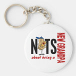 Nuts About Being A New Grandpa 1 Red Basic Round Button Key Ring