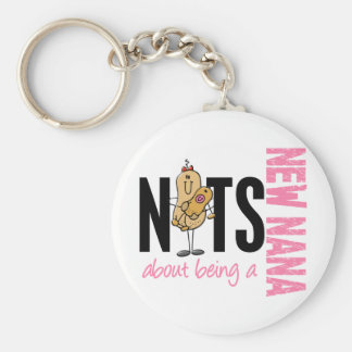 Nuts About Being A New Nana 1 Pink Basic Round Button Key Ring