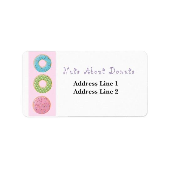 Nuts about Doughnuts Doughnuts Cute Artwork Sweets Address Label