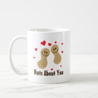 Nuts About You Cute Peanuts Food Pun Humor Cartoon Coffee Mug