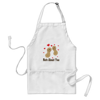 Nuts About You Cute Peanuts Food Pun Humor Cartoon Standard Apron