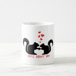 Nuts about you, squirrels in love coffee mug