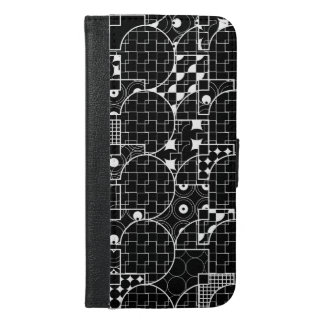 Nutty Line Geometric white pattern on Black iPhone 6/6s Plus Wallet Case