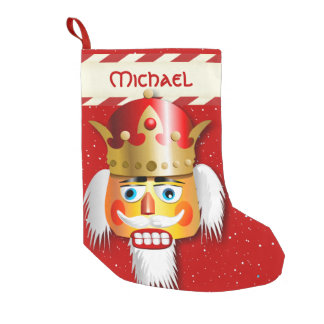 Nutty Nutcracker King With Gold Crown Small Christmas Stocking