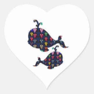 NVN85 WHALE fish aquatic aquarium NavinJOSHI art Heart Sticker