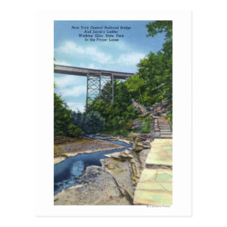 NY Central RR Bridge Jacob s Ladder Postcard