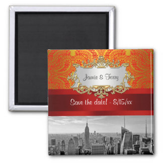 NY City Skyline BW 112 Red Gold Paisley Save  Date Square Magnet