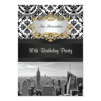NY City Skyline BW 431 Damask Birthday Party V Card