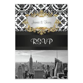 NY City Skyline BW 431 Damask  RSVP 1 9 Cm X 13 Cm Invitation Card