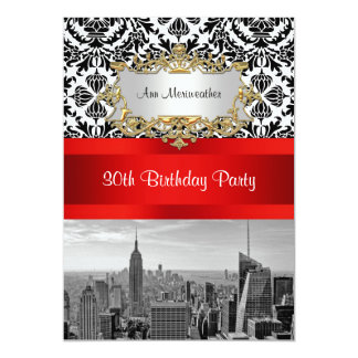 NY City Skyline BW 432 Damask Birthday Party V 13 Cm X 18 Cm Invitation Card