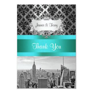 NY City Skyline BW B3 Damask F2 - Thank You 9 Cm X 13 Cm Invitation Card