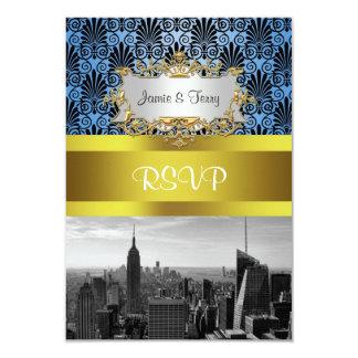NY City Skyline BW Black BlueDeco Damask RSVP 9 Cm X 13 Cm Invitation Card