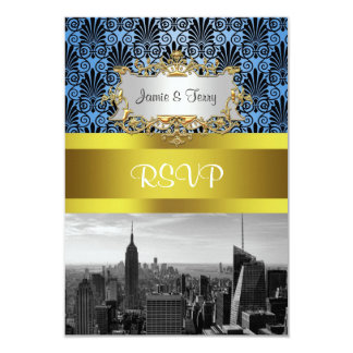 NY City Skyline BW Black BlueDeco Damask RSVP Card