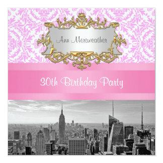 "NY City Skyline BW D4P Pink Damask Birthday Party 5.25"" Square Invitation Card"