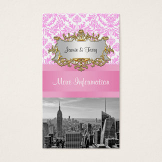 NY City Skyline BW D4P Pink Damask Enclosure Business Card