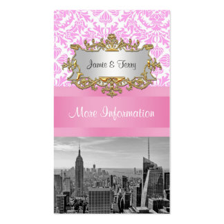 NY City Skyline BW D4P Pink Damask Enclosure Pack Of Standard Business Cards