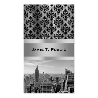 NY City Skyline BW D4P Pink White Damask Business Card Templates