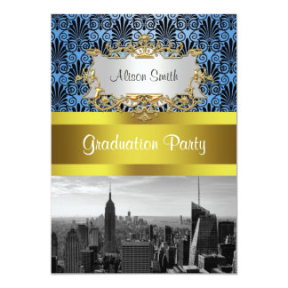 NY City Skyline BW Deco Damask Graduation Invite