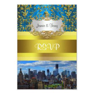 NY City Skyline BW W1 Damask RSVP 9 Cm X 13 Cm Invitation Card