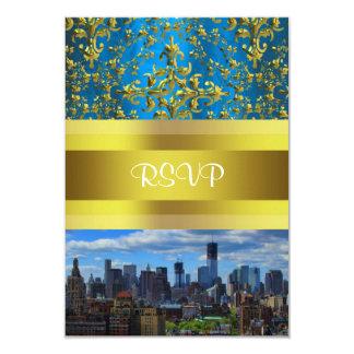 NY City Skyline BW W1 Damask - RSVP 9 Cm X 13 Cm Invitation Card