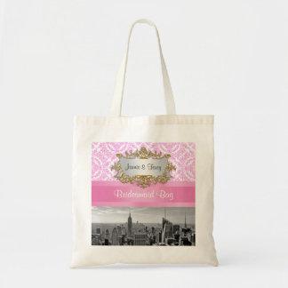 NY City Skyline D4P Pink Damask Canvas Bag