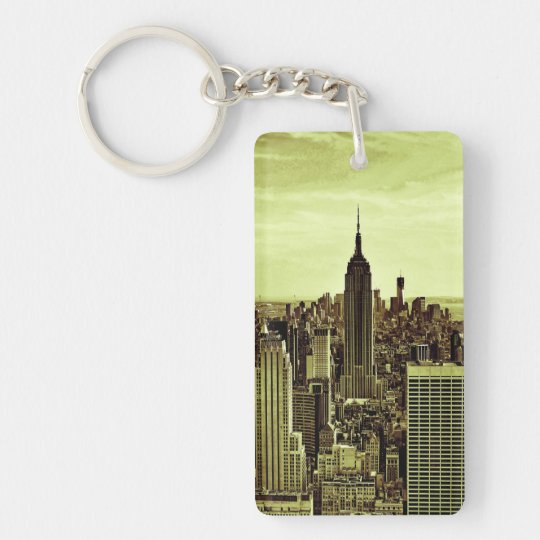 NY City Skyline Empire State Building, LM6 Double-Sided Rectangular Acrylic Key Ring