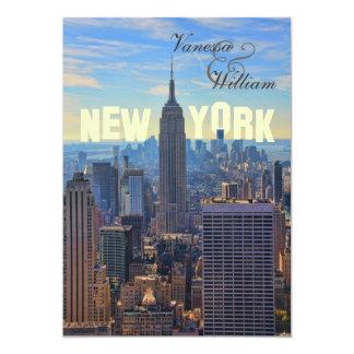 NY City Skyline Empire State Building, WTC 13 Cm X 18 Cm Invitation Card