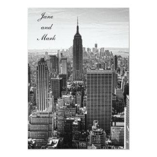NY City Skyline Empire State Building, WTC BW 13 Cm X 18 Cm Invitation Card