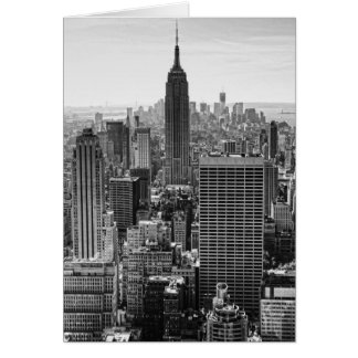 NY City Skyline Empire State Building, WTC BW Greeting Card