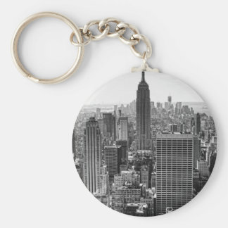 NY City Skyline Empire State Building, WTC BW Key Ring