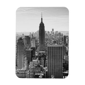 NY City Skyline Empire State Building, WTC BW Rectangular Photo Magnet