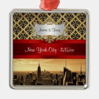 NY City Skyline Sepia B4 Damask Ornament