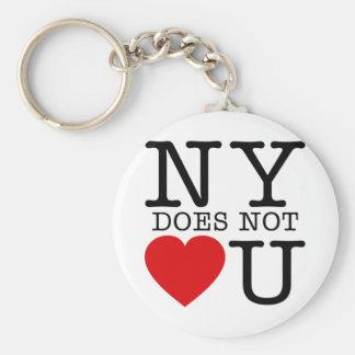 NY No Love Basic Round Button Key Ring