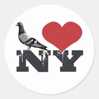 NY Pigeon Round Sticker