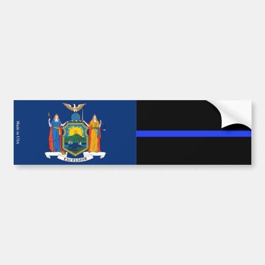 NY & Police Thin Blue Line Flag Bumper