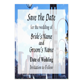 NY - Skyline From Liberty State Park Save the Date Magnetic Invitations