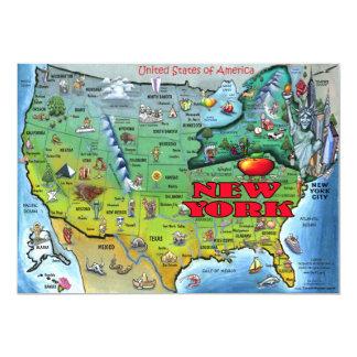 NY USA Map Card 13 Cm X 18 Cm Invitation Card