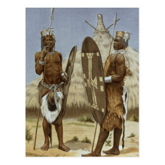 Nyam-nyam warriors from The History of Mankind Postcard